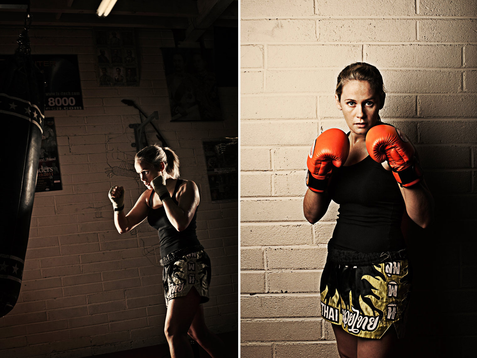 athlete portraits: kick boxer punching bag