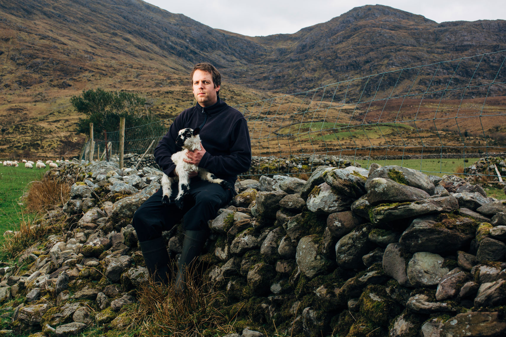 young farmer sits on wall with lamb