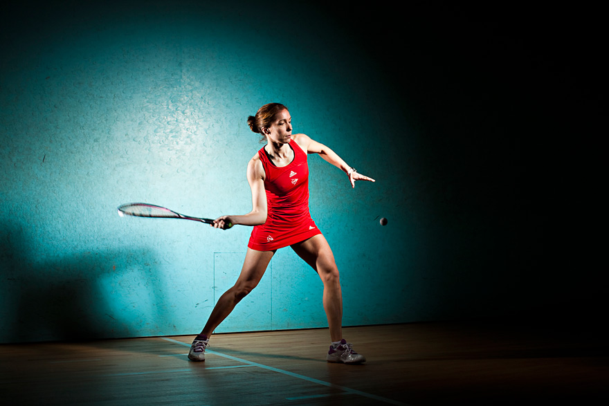 sports action photography: madeline perry squash player