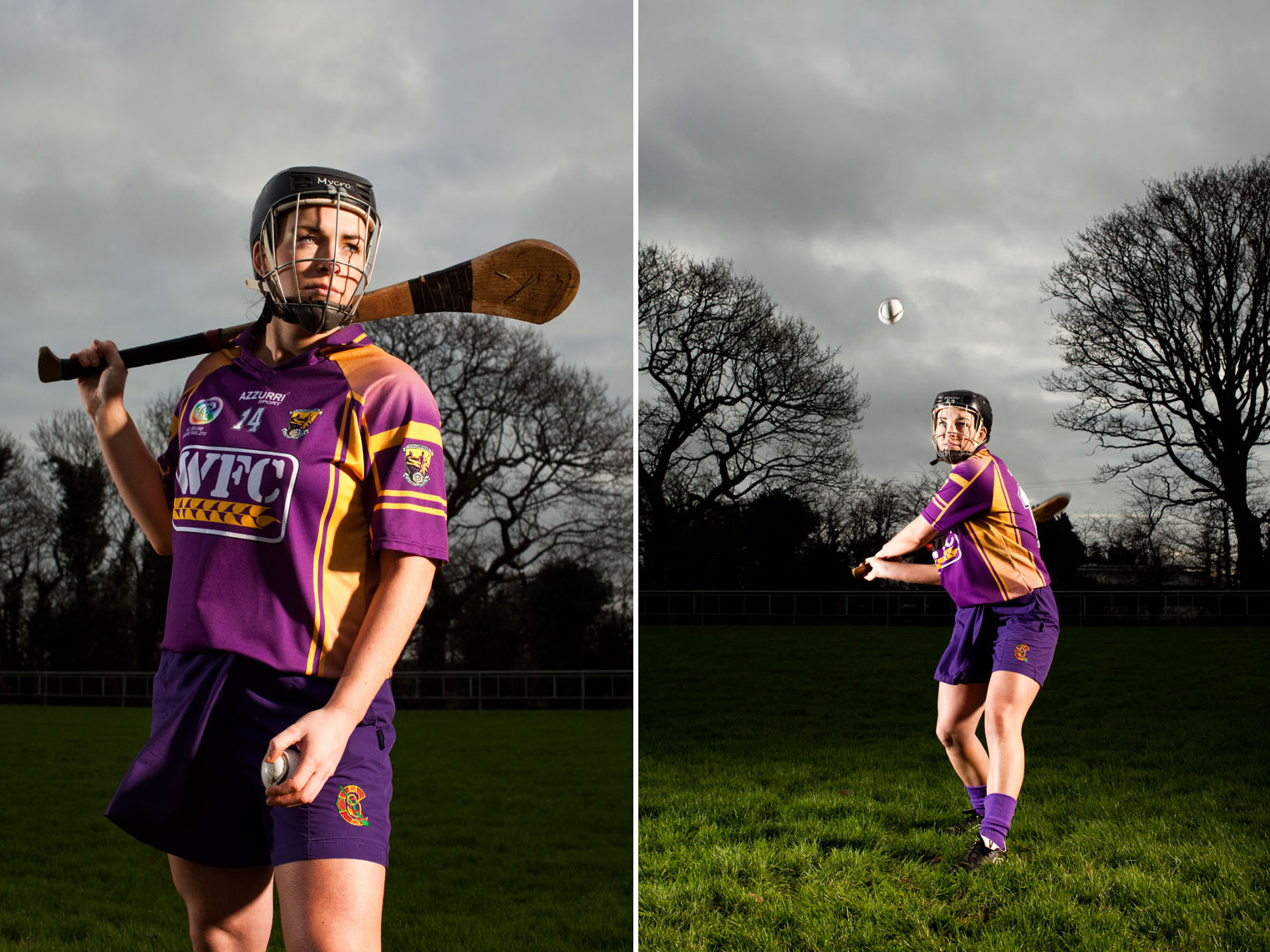 camogie player with hurling stick and helmet