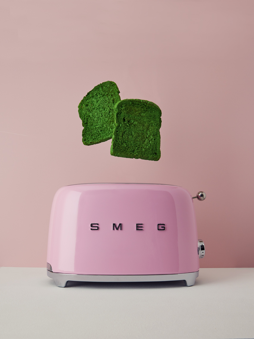 creative still life photography: pink smeg toaster