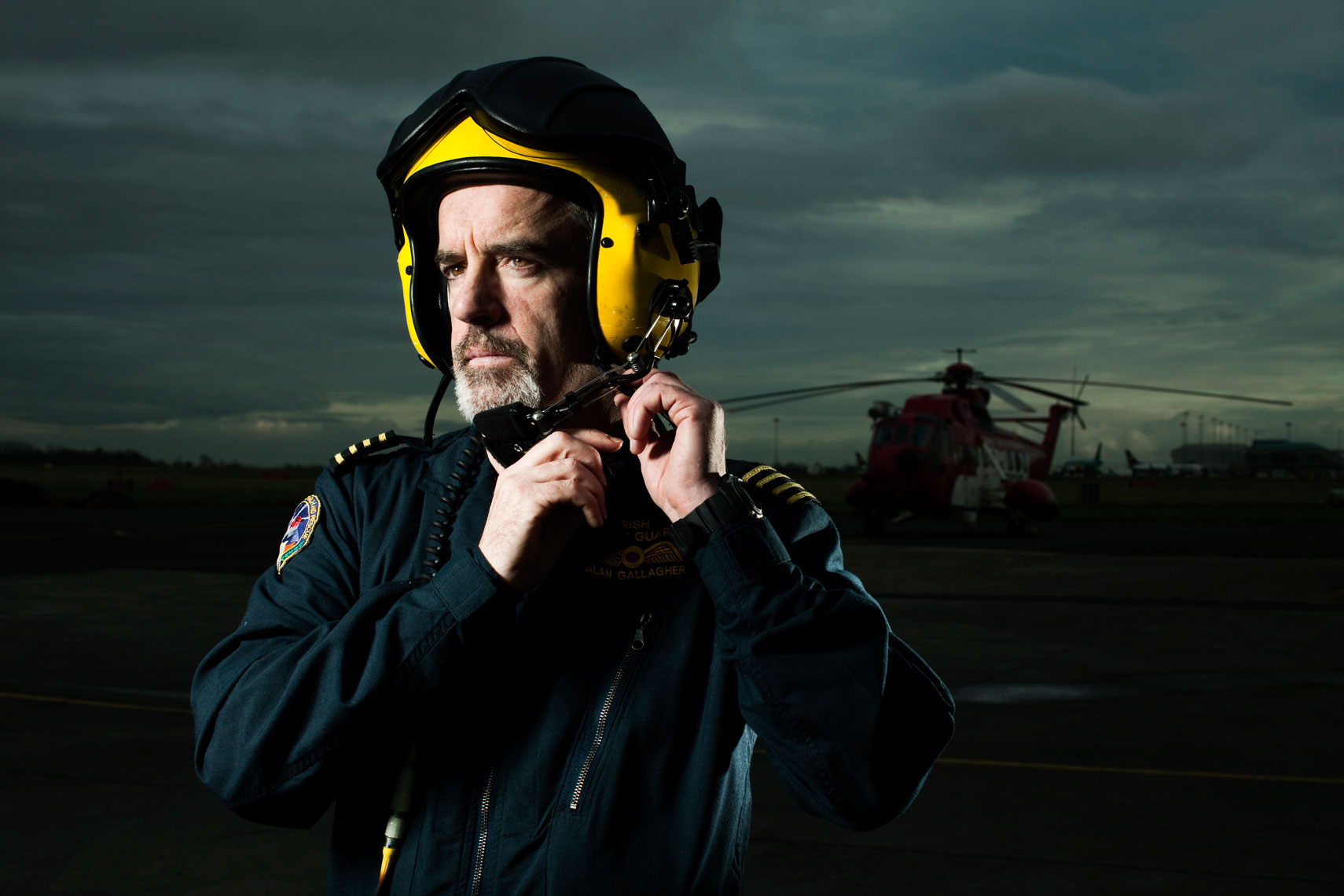 portrait photography:  coast guard winchman dressed for work