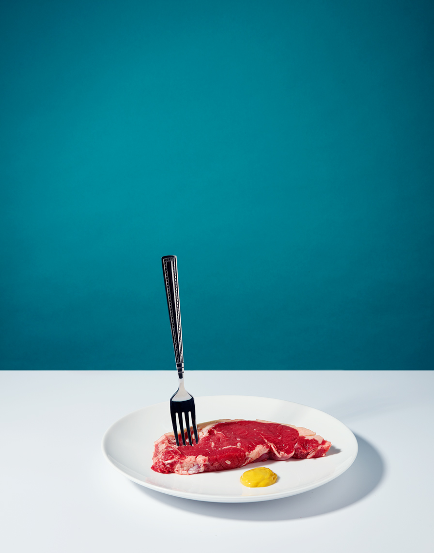still life photographer: raw steak and mustard