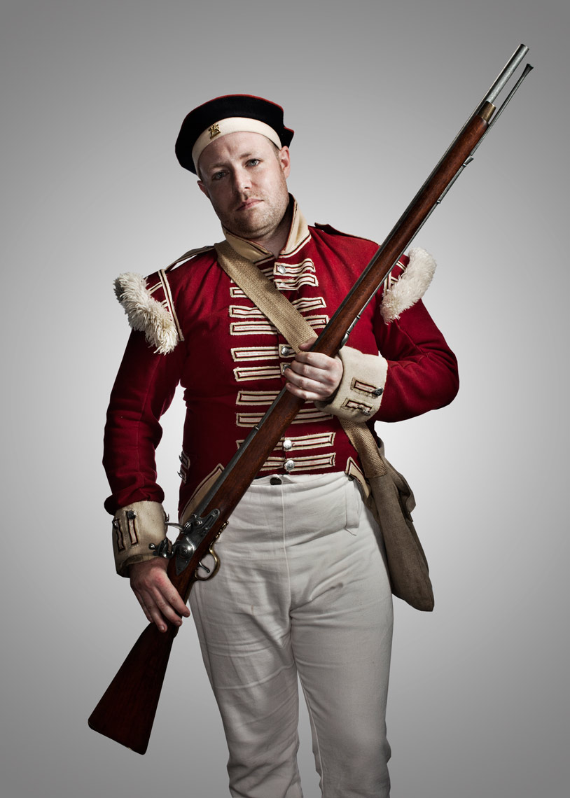 british battle reenactor with rifle