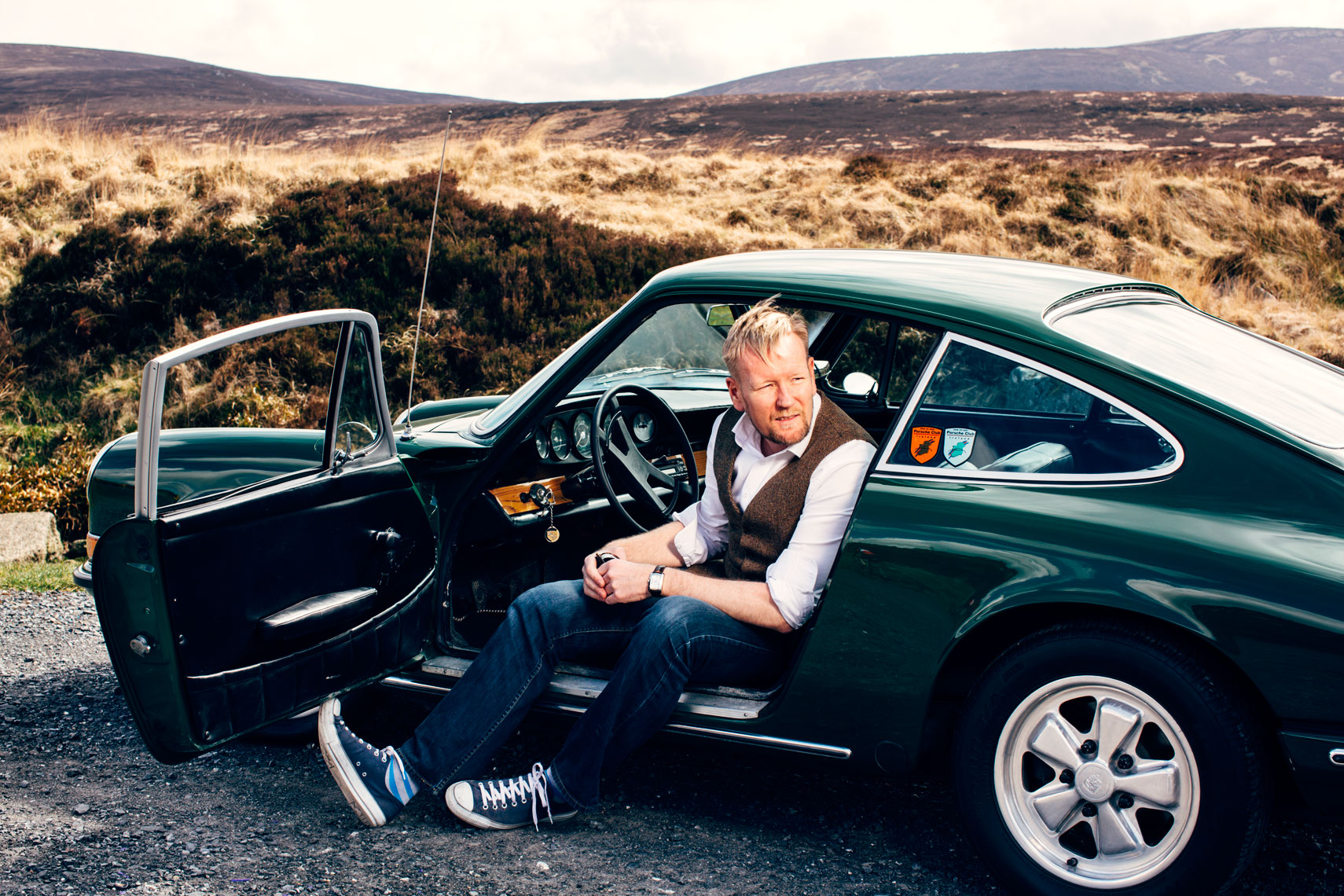 portrait photography: vintage porsche car owners