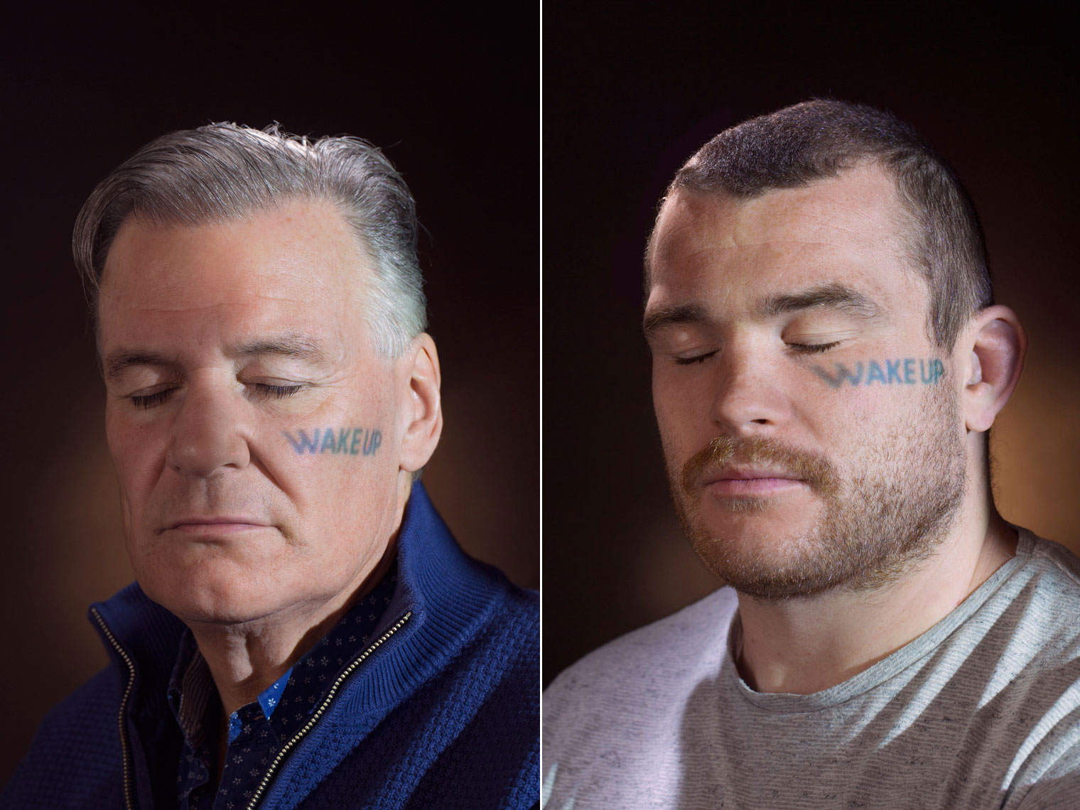 two men with wake up written on their face