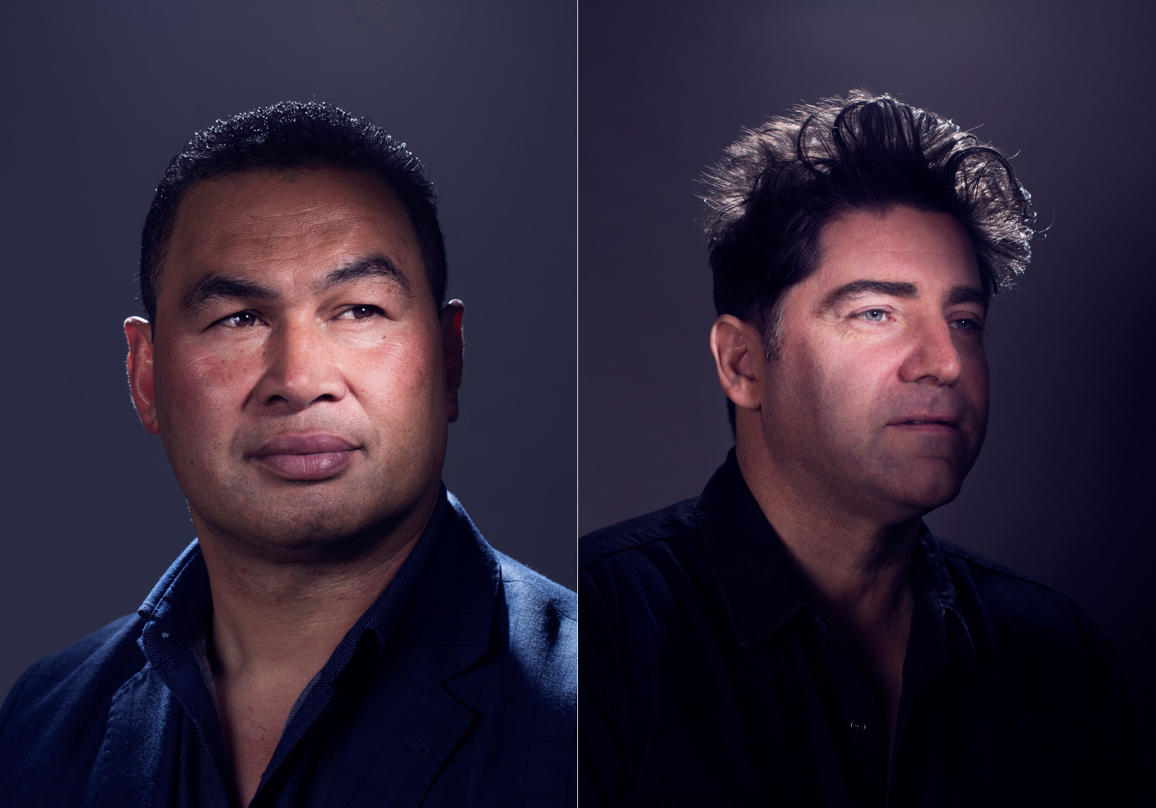 editorial portraits of two men against dark backdrop